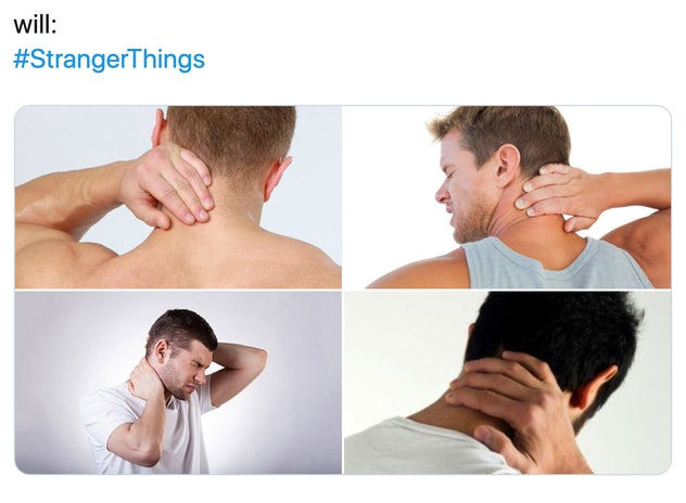 Four images of a man rubbing his neck.