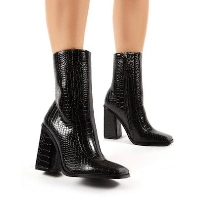 Slick Black Croc Square Toe Blocked Heeled Ankle Boots