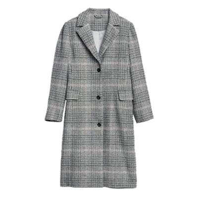 Plaid Longline Wool-Blend Coat