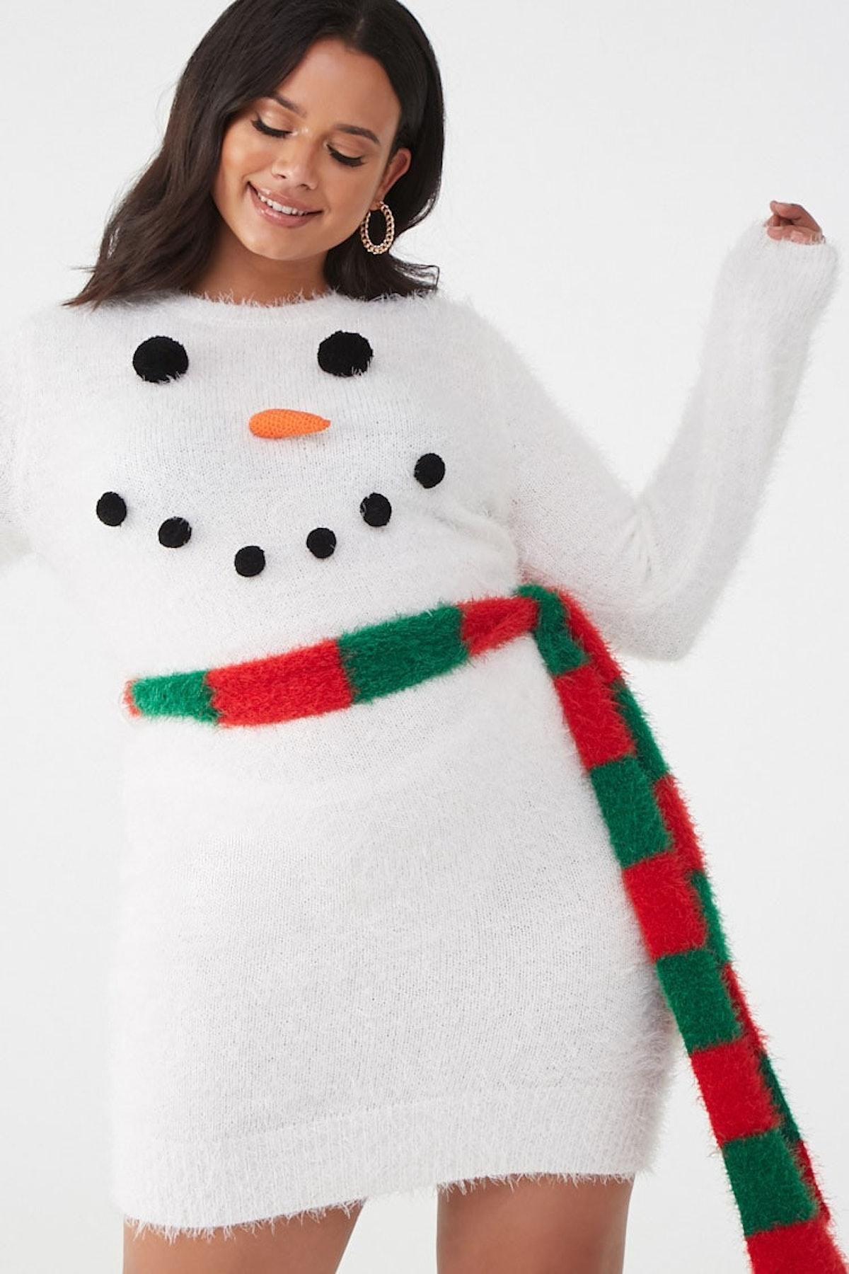 Plus Size Snowman Sweater Dress