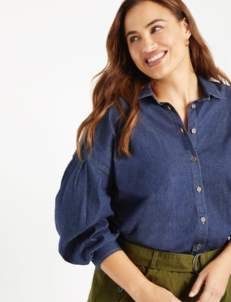 Chambray Button Down with Drop Shoulder