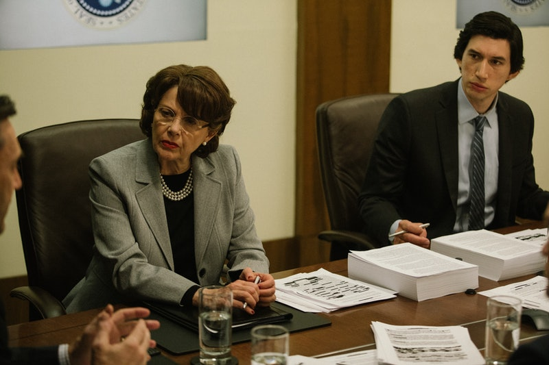 Annette Bening as Dianne Feinstein and Adam Driver as Daniel Jones in The Report