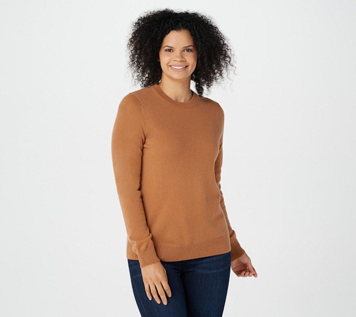 "Soft by NAADAM 100% Cashmere Essential Crew- Neck Pullover Sweater in ""Dark Ginger"""