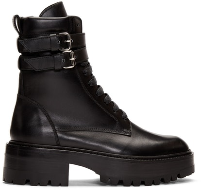 Black Cuffed Combat Boots