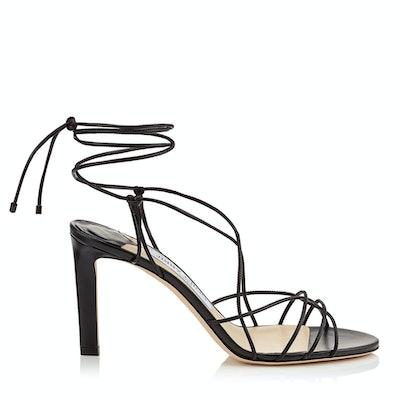 TAO 85 Black Nappa Leather Sandal with Spaghetti Straps