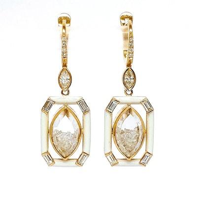 Marquise Diamond Shaker Enamel Earrings