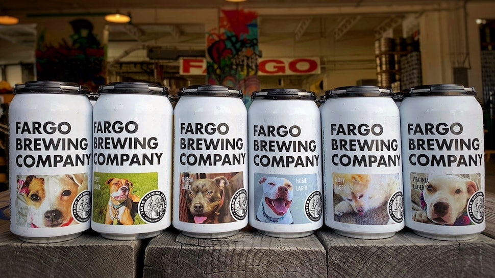Fargo Brewing Company have limited-edition cans that feature adoptable dogs.