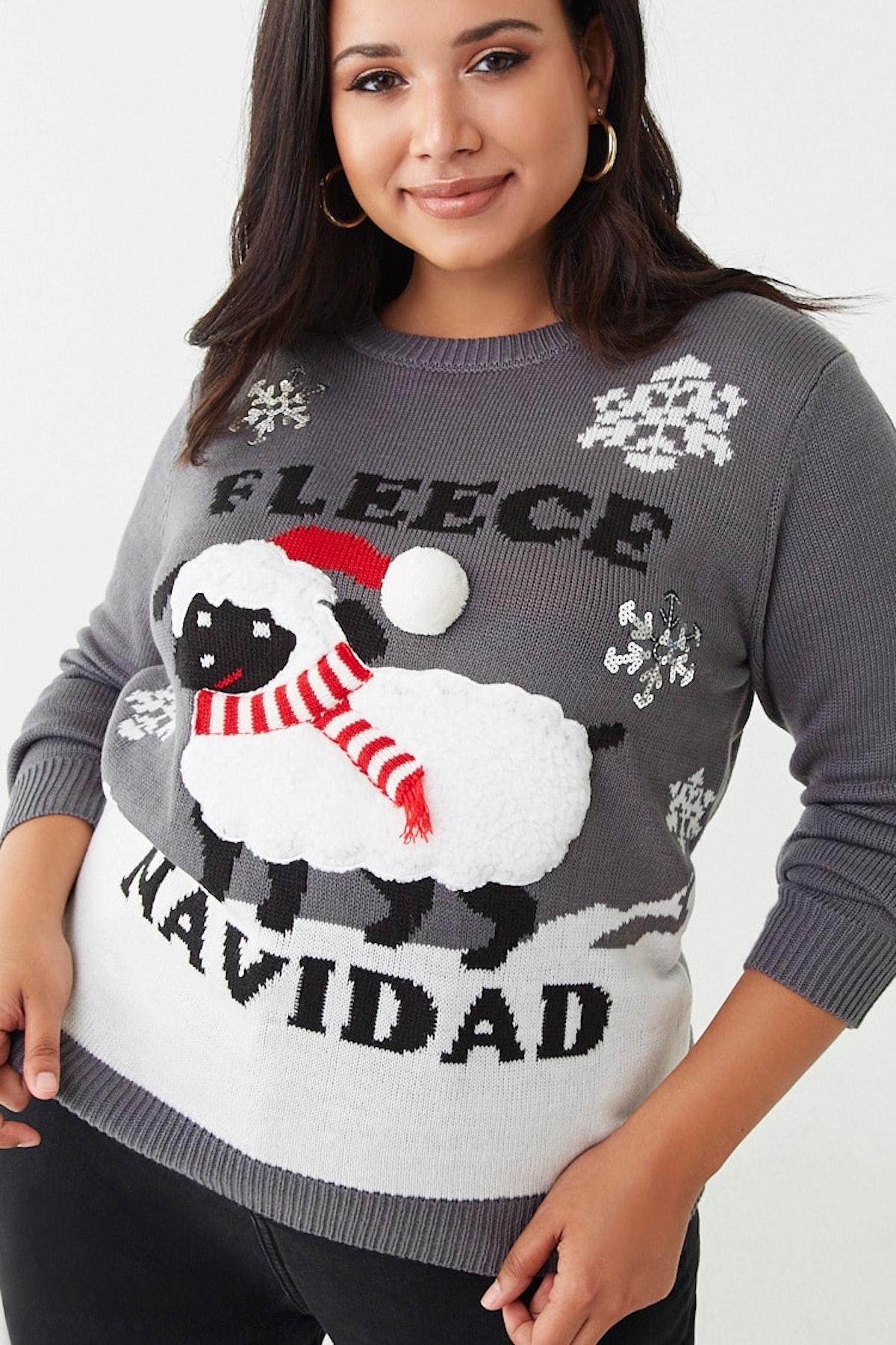 Plus Size Fleece Navidad Graphic Sweater