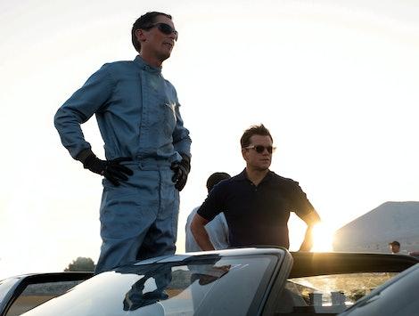 Christian Bale as Ken Miles and Matt Damon as Carroll Shelby in Ford v Ferrari