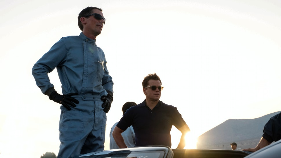 Christian Bale as Ken Miles and Matt Damon as Carroll Shelby in Ford v Ferrari