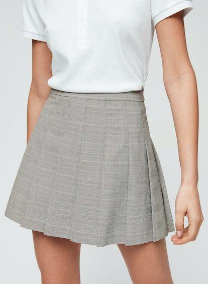 Sunday Best Pleated Plaid Olive Mini Skirt