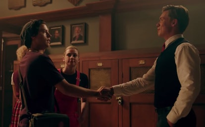 Bret Weston Wallis and Jughead shaking hands at Stonewall Prep on Riverdale