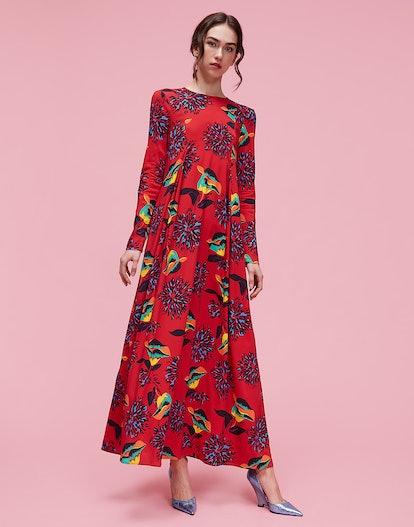 Parrot Sablé Trapezio Dress
