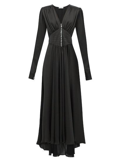 Crystal Button Satin Dress