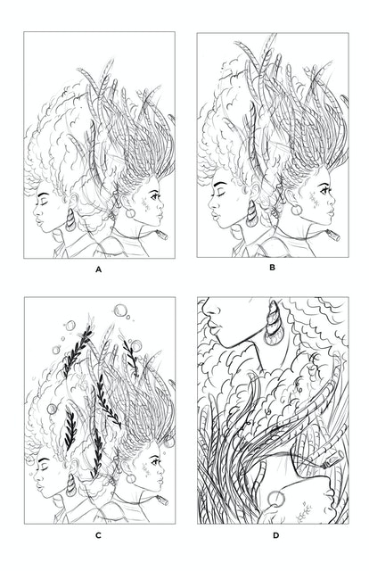 """Early sketches of the two friends show the evolution of the """"A Song Below Water"""" cover."""