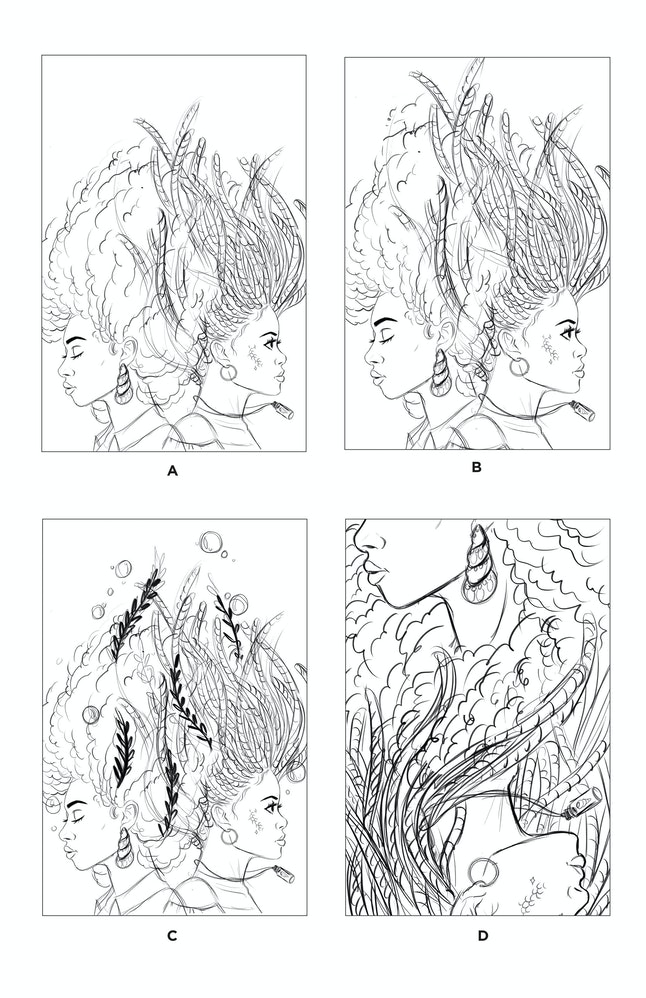 "Early sketches of the two friends show the evolution of the ""A Song Below Water"" cover."