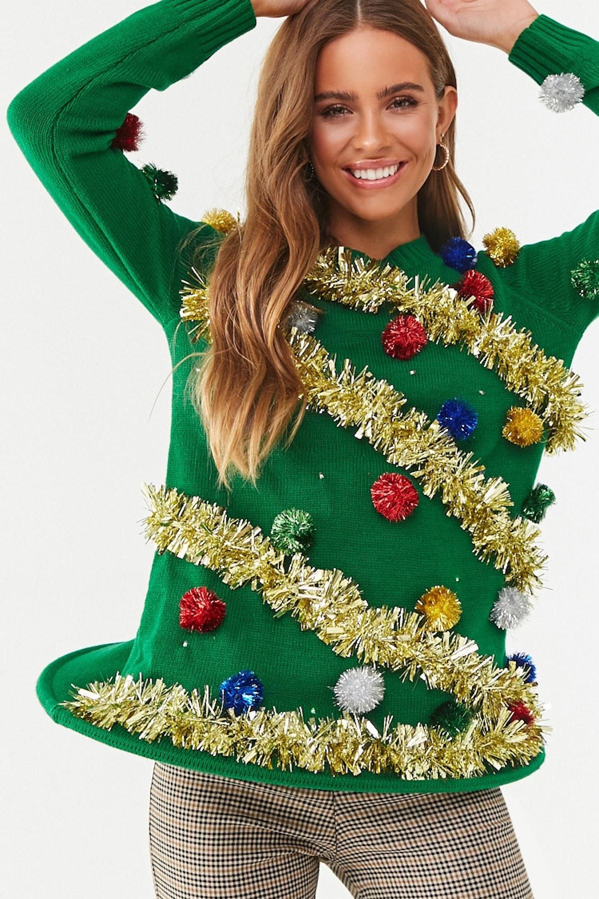 Christmas Tree Light-Up Sweater Dress