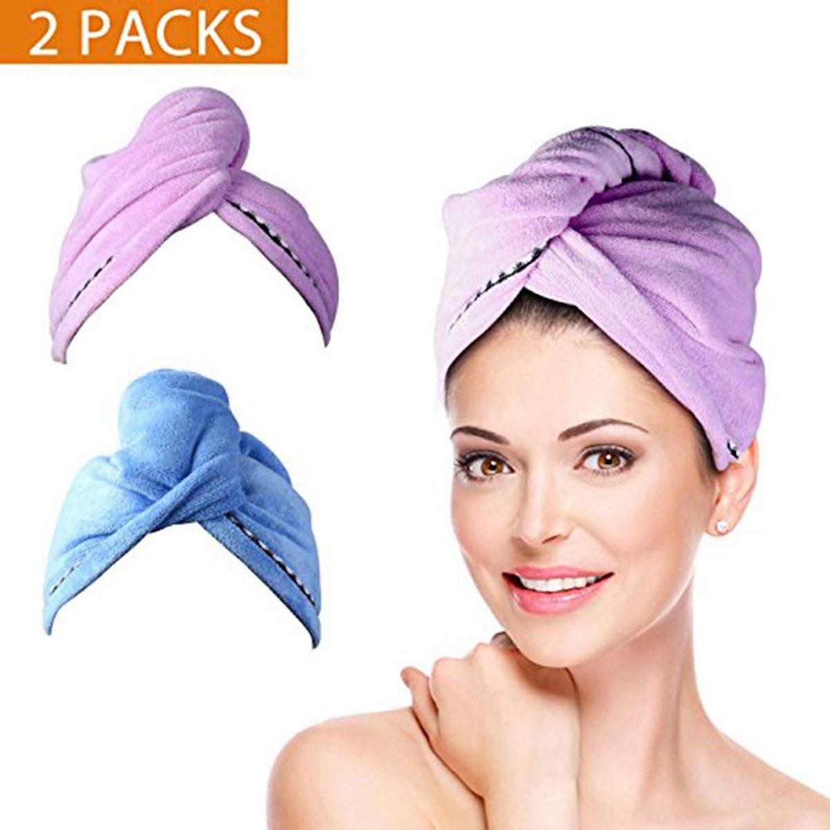 Duomishu Hair Towel Wraps (2-Pack)