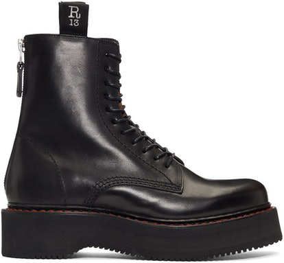 Black Single-Stack Platform Lace-Up Boots