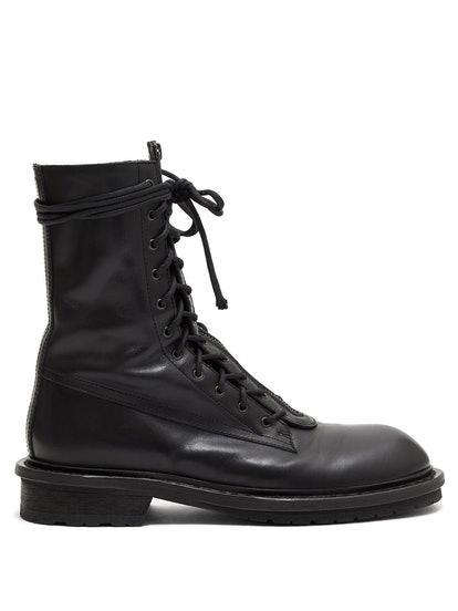 Double Lace-Up Leather Boots