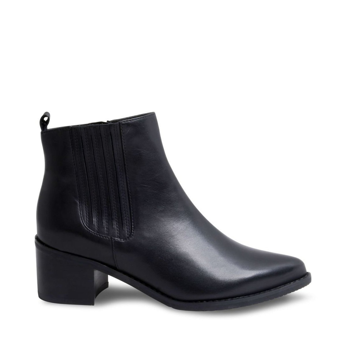 Elvina Waterproof Black Leather