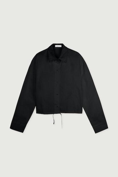 Drawstring Hem Button-Up Blouse
