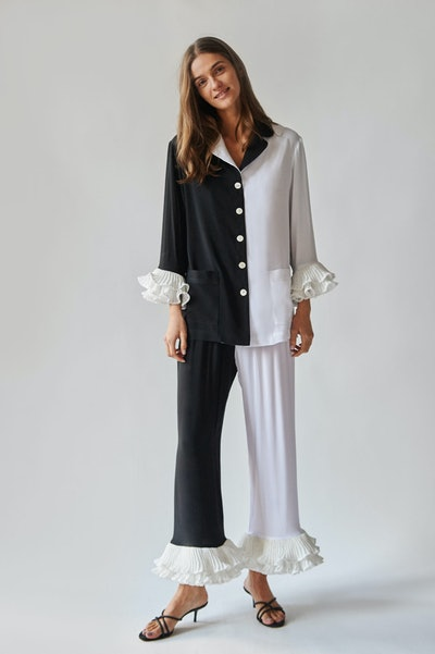 """Pierrot"" Party Pajama Set In Black And White"