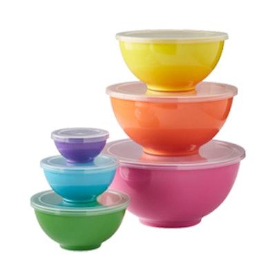 Flour Shop Melamine Mixing Bowls With Lids, Set Of 6
