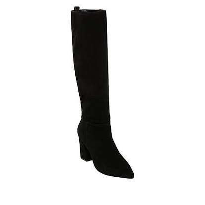 """Steve Madden Raddle Suede Pointed-Toe Tall Boot in """"Black"""""""