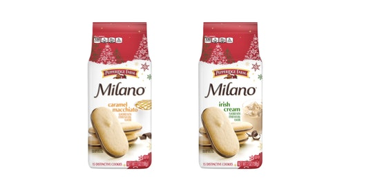 New Milano cookie flavors from Pepperidge Farm include Caramel Macchiato and Irish Cream.