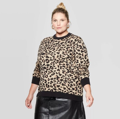 Ava & Viv Plus Size Animal Print Long Sleeve Crewneck Pullover Sweater