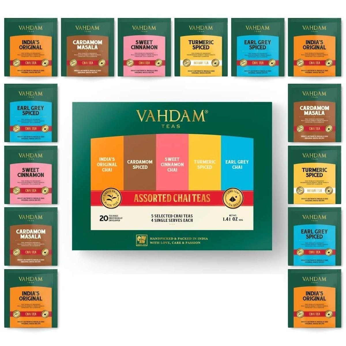 VAHDAM Chai Tea Sampler (20 Bags)