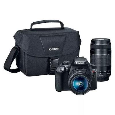 Canon DSLR EOS T6 2Lens Kit Bundle w/ SD Card (18-55mm IS Lens, 75-300mm Zoom Lens)