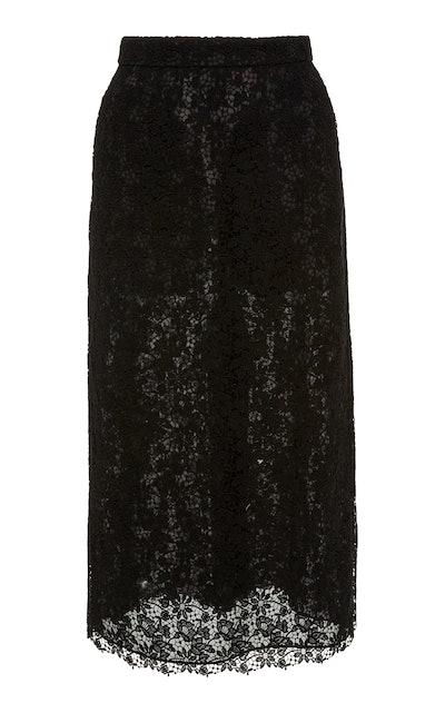 Cotton-Blend Lace Midi Skirt
