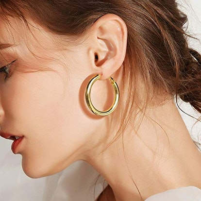 Yiba 18K Gold Plated Sterling Silver Hoop Earrings