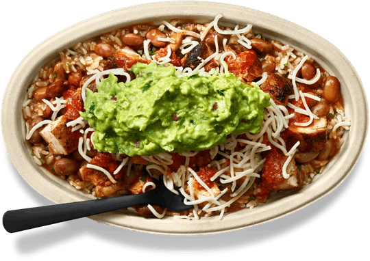 Chipotle bowl with chicken, rice, and guacamole