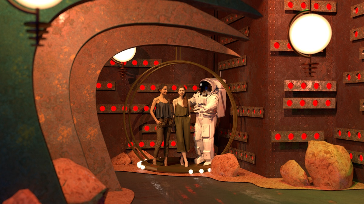 """The """"Oops!... I Did It Again"""" room on Mars from the Britney Spears pop-up features an astronaut and ..."""