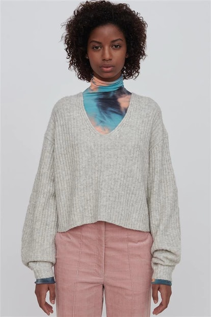 White Wool Blend V Neck Sweater - Ella