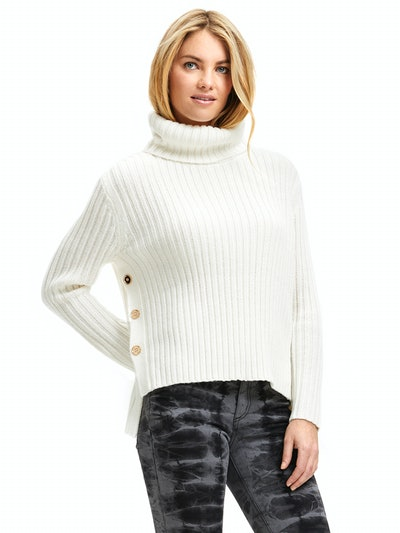 Scoop Women's Ribbed Turtleneck Sweater with Side Buttons