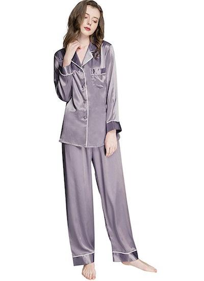 LONXU Silk Satin Pajama Set