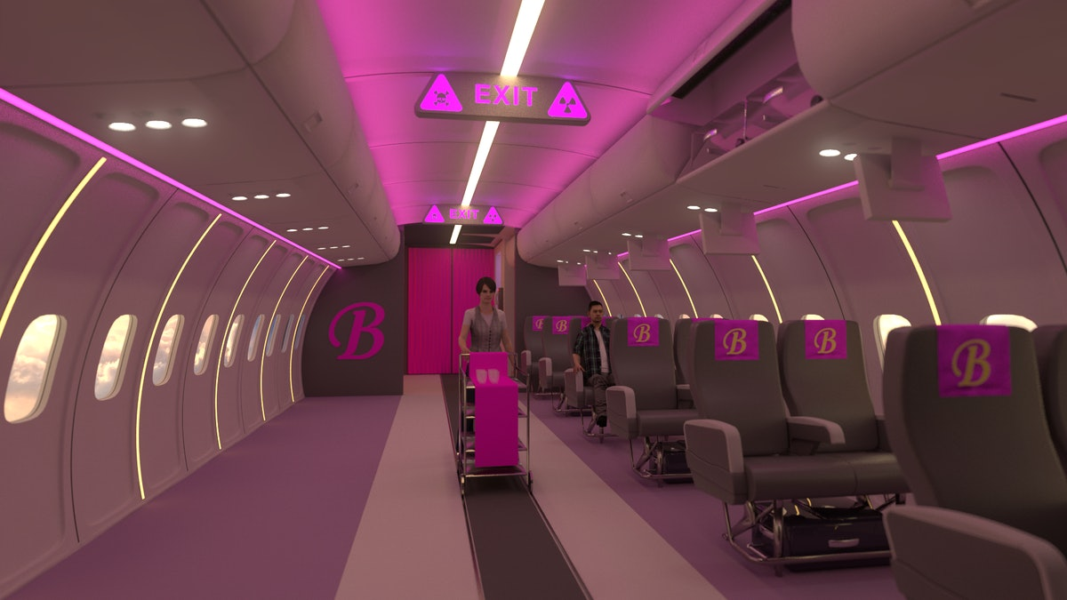 """A rendering of the """"Toxic"""" room at the Britney Spears pop-up features hot pink decor on the interior..."""