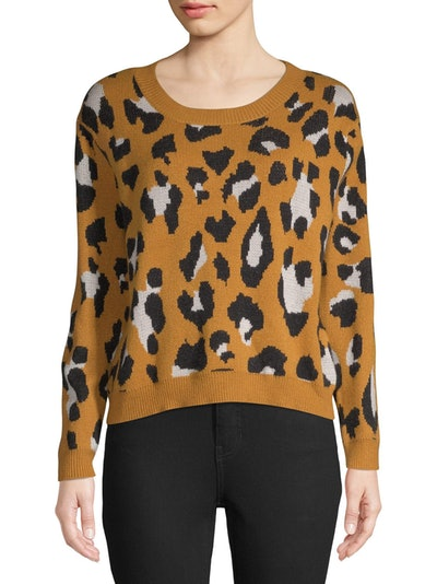 Dreamers by Debut Women's Leopard Print Pullover Sweater
