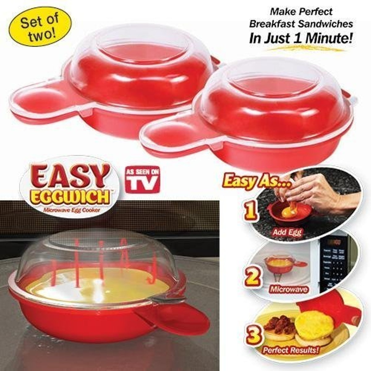 Easy Eggwich Microwave Egg Cookers (Set Of 2)