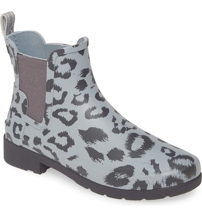 Hunter Original Leopard Print Refined Chelsea Waterproof Rain Boot