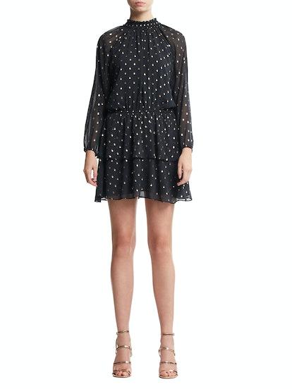 Foil Dot Print Dress