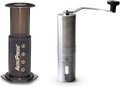 Aerobie AeroPress Coffee Maker with Brillante Manual Burr Coffee Grinder