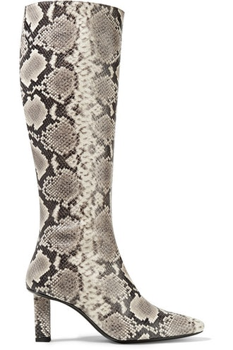 Benny Snake-Effect Leather Knee Boots