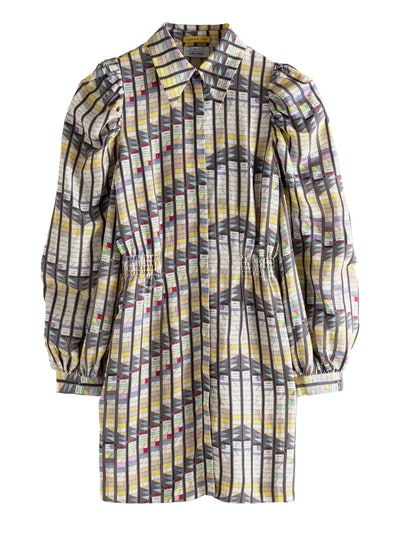 Geometric Print Puff Sleeve Mini Dress