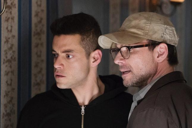 Rami Malek as Elliot and Christian Slater as Mr. Robot in Mr. Robot