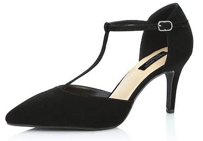 DailyShoes Women's T-Strap High Heel Pumps